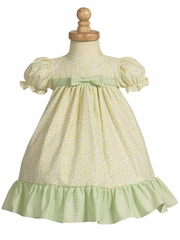 Yellow/Lime Green Cotton Print Baby Dress