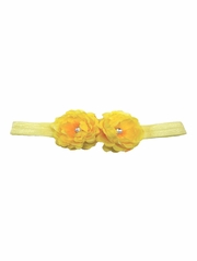 Yellow Mini Peonies Elastic Headband