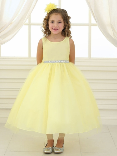 Yellow Rhinestone Waistband Tulle Dress