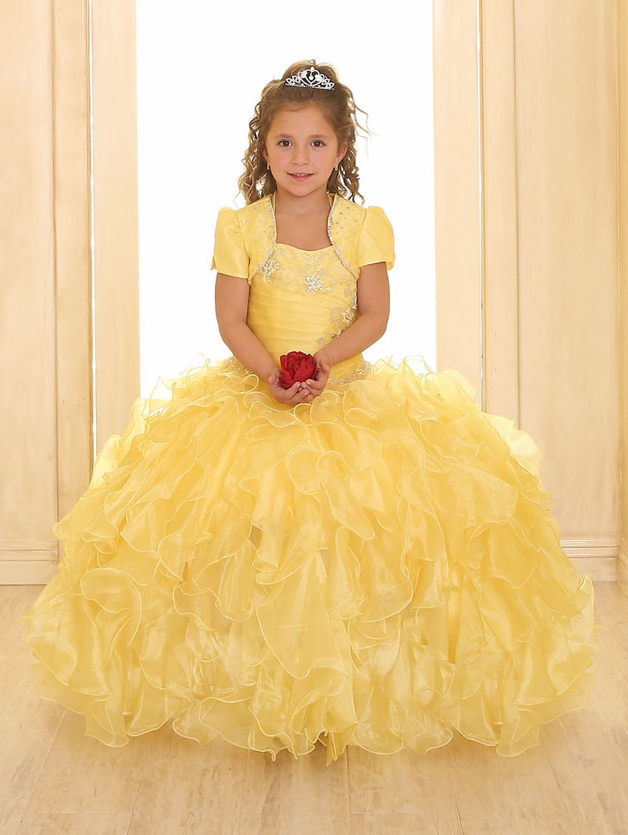 Black and white flower girl yellow dress