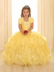 Yellow Ruffle Pageant Dress w/ Jewel Embroidered Bodice & Bolero