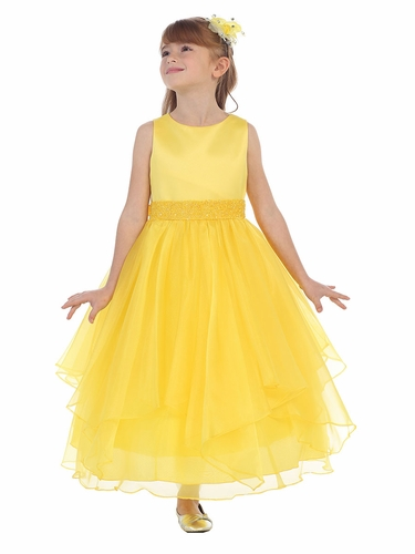 Yellow Satin & Organza Layered Dress