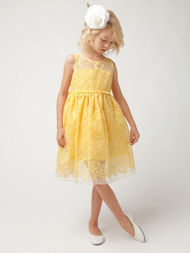 Yellow Spring Sheer Panel Organza