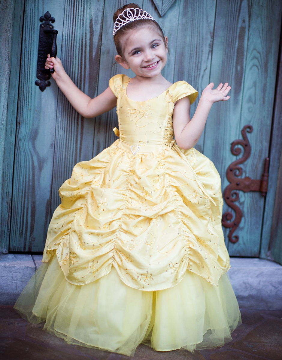 Yellow Taffeta Embroidered Cinderella Dress