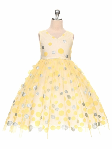 Yellow V-Neck Polka Dot Tulle Overlay Dress