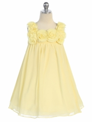 Yellow Yoryu Chiffon Dress w/ Rose Buds