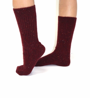 Ribbed Speckled Cashmere Sock