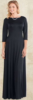 Mara Dress<br>3/4 Sleeve Black Knit Concert Gown