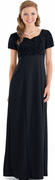 Flocked Bodice Aimee Dress<br>Black Short Sleeve Orchestra Gown