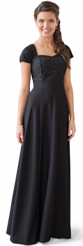 Beaded Bodice w/ Pleated Cap Sleeve <br>Sofia Dress