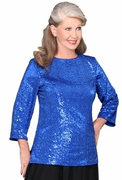 Stretch Sequin Tunic with neckline and sleeve options