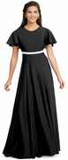 Crepe Laynie Dress<br>Contrasting Banded Cape Sleeve Gown