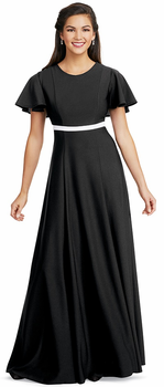Contrasting Banded Crepe Laynie Dress