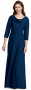 August Dress<br>3/4 Sleeve Drape Cowl Neck Formal Gown