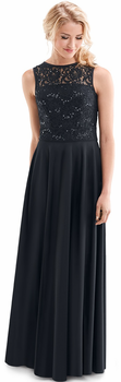 Louisa Dress<br> High Neckline Sleeveless Lace/Crepe Formal Gown