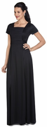Short Sleeve Debutante Dress<br>Black Knit Gown with Center Roushing