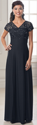Venice Dress<br>Lace over Crepe V Neck Gown
