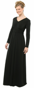 Cummerbund Dress<br>Long Sleeve Black Knit Formal Gown