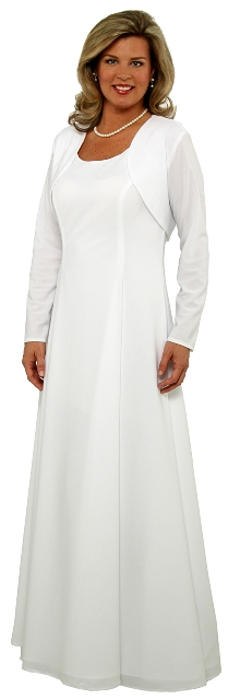 CLEARANCE Long Sleeve White Shrug <br>  (Dress not included)
