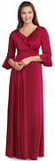 Benson Dress<br>Ruffle Front 3/4 Sleeve Knit Gown