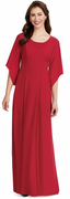 Crepe Margaret Dress<br>Scoop Neck Gown with Angel Sleeves