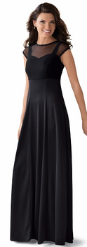 Aubrey Dress<br>Stetch Mesh Overlay Bodice with Knit Skirt