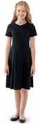 Youth Libby Dress<br>Short Sleeve Black Crepe Concert Gown
