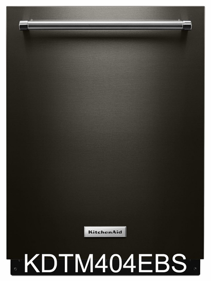 KitchenAid 44 dBA Black Stainless Steel Dishwasher with Dynamic Wash Arms 44 KDTM404EBS