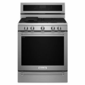 Gas Range KitchenAid 30-Inch 5 Burner Gas Convection Range with Warming Drawer KFGS530ESS