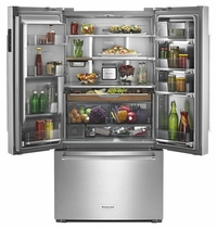 KitchenAid 23.8 Cu. Ft. Counter-Depth French Door Refrigerator with Platinum Interior, PrintShield & Stainless Steel KRFC704FPS