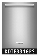 KitchenAid 39 DBA Dishwasher with Fan-Enabled ProDry System and PrintShield Finish - Stainless Steel KDTE334GPS