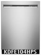 KitchenAid 46 DBA Front Control Dishwasher with PowerWash Cycle and SatinGlide Max Rails KDFE104HPS PrintShield Stainless Steel