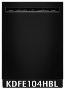 KitchenAid 46 DBA Front Control Dishwasher with PowerWash Cycle and SatinGlide Max Rails KDFE104HBL Black