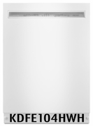 KitchenAid 46 DBA Front Control Dishwasher with PowerWash Cycle and SatinGlide Max Rails KDFE104HWH White