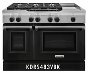 KitchenAid 48'' 6-Burner with Griddle, Dual Fuel Freestanding Range, Commercial-Style KDRS483VBK