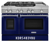 KitchenAid 48'' 6-Burner with Griddle, Dual Fuel Freestanding Range, Commercial-Style KDRS483VBU