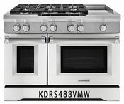 KitchenAid 48'' 6-Burner with Griddle, Dual Fuel Freestanding Range, Commercial-Style KDRS483VMW