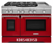 KitchenAid 48'' 6-Burner with Griddle, Dual Fuel Freestanding Range, Commercial-Style KDRS483VSD
