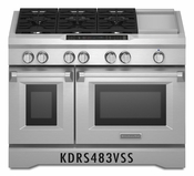 KitchenAid 48'' 6-Burner with Griddle, Dual Fuel Freestanding Range, Commercial-Style KDRS483VSS