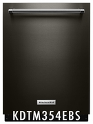 KitchenAid Black Stainless 43 dBA Dishwasher with Clean Water Wash System KDTM354EBS