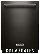 KitchenAid 44 dBA Black Stainless Integrated Console Dishwasher with Dynamic Wash Arms and Bottle Wash  KDTM704EBS