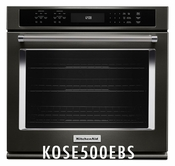 KitchenAid Black Stainless Steel 30 inch Single Wall Oven with Even-Heat and True Convection KOSE500EBS