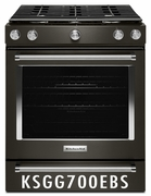 "KitchenAid Black Stainless Steel 5.8 Cu. Ft. 30"" Gas 5 Burner Slide-in Convection Range with Aqualift and Glass Touch Controls KSGG700EBS"