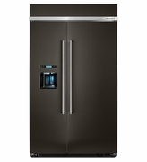 Kitchenaid Black Stainless Steel Built-In Side by Side Refrigerator KDSB608EBS 29.5 cu. ft. 48 inch Wide