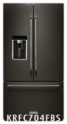 KitchenAid Black Stainless Steel Counter-Depth French Door Refrigerator 23.8 Cu. Ft.  KRFC704FBS