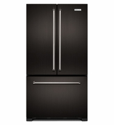 Kitchenaid Counter Depth Black Stainless Steel French Door Refrigerator KRFC302EBS with Interior Dispense 22 cu. ft. 36-Inch Wide