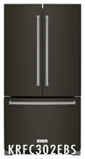 Kitchenaid Counter Depth Black Stainless Steel French Door Refrigerator with Interior Dispense 22 cu. ft. 36 Inch wide Model #KRFC302EBS