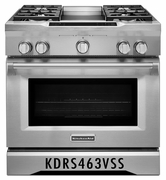 KitchenAid Deep Recessed 5-Burner Self-cleaning Convection Single Oven Dual Fuel Range KDRS463VSS