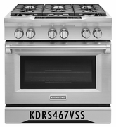KitchenAid Deep Recessed 6-Burner Self-cleaning Convection Single Oven Dual Fuel Range KDRS467VSS