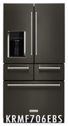 Black Stainless Steel Kitchenaid French Door Refrigerator Platinum Interior Design Model #KRMF706EBS 25.8 Cu. Ft. 5 Door Fridge